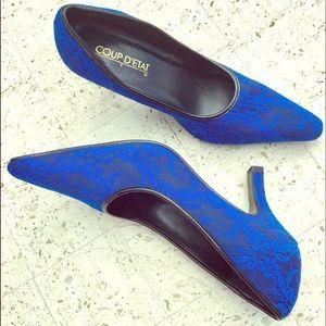 Dressy Blue Lace Pumps high heels glam NWOT